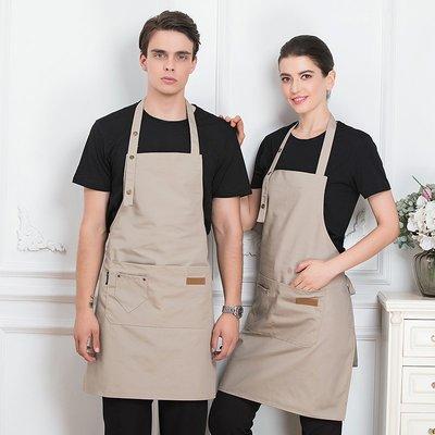 帆布牛仔交叉背帶韓版時尚咖啡師圍裙女定制logo印字奶茶美甲花店