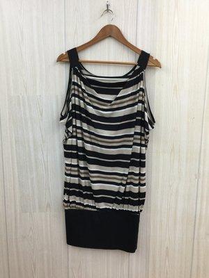 【愛莎&嵐】WEALTH HONOR 女 黑色條紋背心無袖洋裝 1090701