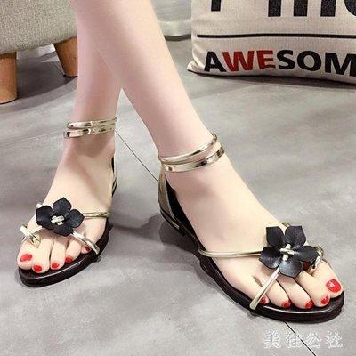 ZIHOPE 夾趾涼鞋 新款夏季夾趾涼鞋度假百搭花朵仙女新款韓版夾趾涼鞋女ZI812