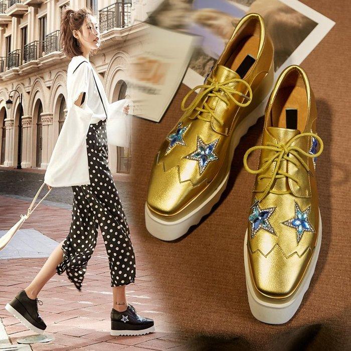 Fashion*厚底鞋 松糕鞋 真皮方頭坡跟系帶鞋 黑色英倫高跟星星鞋 33-40碼
