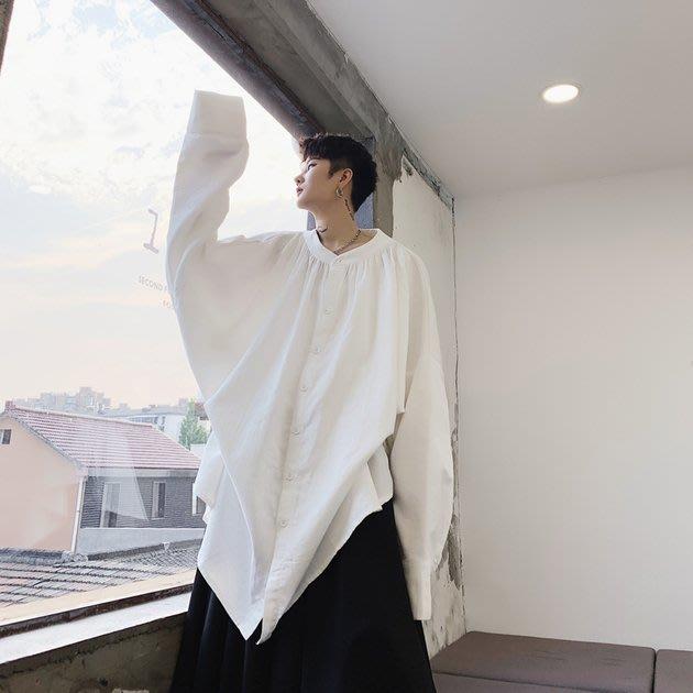 FINDSENSE 2019 秋季上新 G19 日系山本風中長款抽繩廓形蝙蝠袖素面襯衫 男裝 上衣
