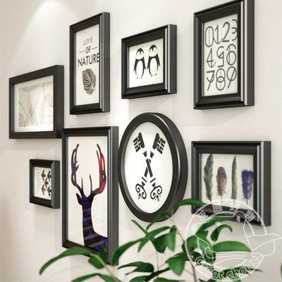 【灰熊好物】歐式實木照片牆 相片牆 相框牆 相框 結婚居家裝潢 壁貼掛畫裝飾畫北歐創意組合 #9221