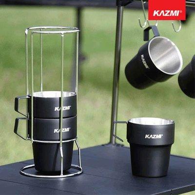 丹大戶外【KAZMI】不鏽鋼雙層馬克杯5入組(啞光黑) K8T3K004