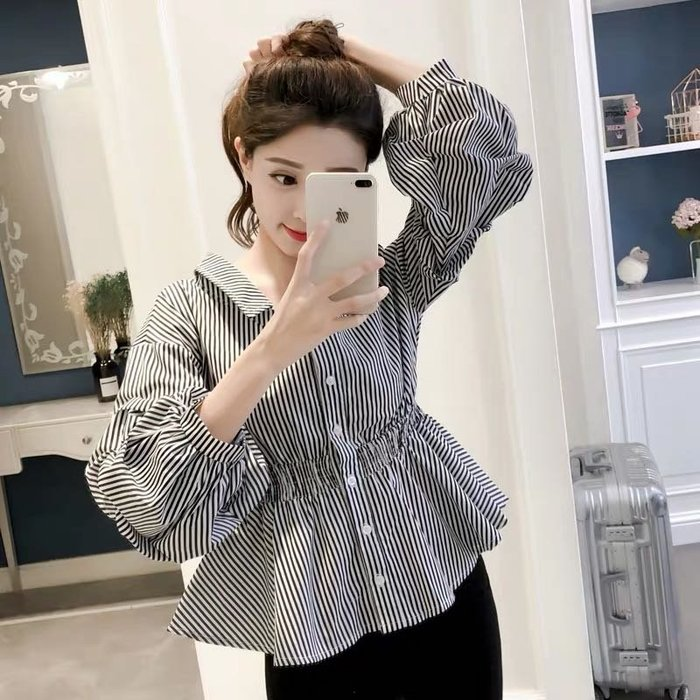 韓版氣質娃娃裝襯衫上衣長袖襯衫