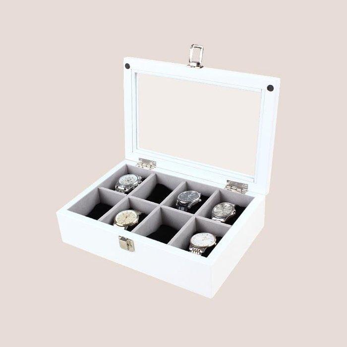 韓米琪木質手錶盒手鐲手鍊收藏盒文玩收納盒8格木質包絨帶錶包