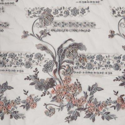 橙子的店 W118重工刺繡定位繡花釘珠貼鉆軟網紗蕾絲面料服裝布料禮服用料