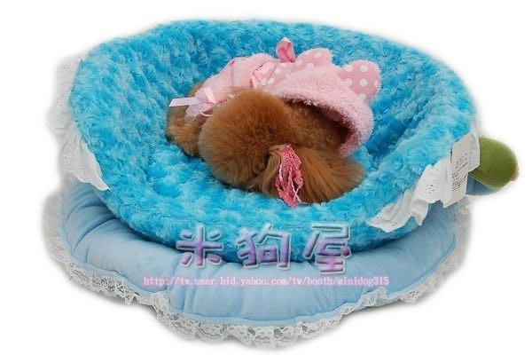 【米狗屋】 ˙歐式咖啡杯玫瑰絨可愛 床-藍色˙床墊可獨立清洗˙睡窩 睡床 睡墊
