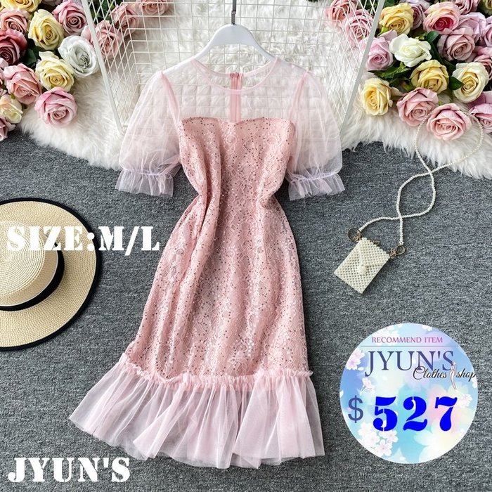JYUN'S  夏季新款氣質亮片蕾絲拼接網紗荷葉邊泡泡袖修身露肩短袖洋裝連衣裙禮服 5色M/L 預購