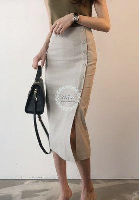 【2A Two】正韓?舒適棉麻⌒修身包臀半裙+軍綠冰絲針織背心 兩件式『BA0670』