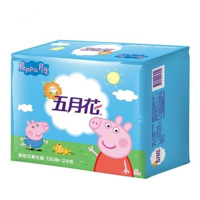 五月花抽取式衛生紙130抽*24包*3袋-粉紅豬小妹版 002