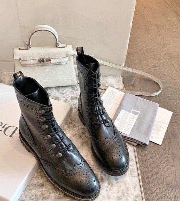 D家馬丁靴女英倫風 2020新款歐美風松糕厚底顯瘦長筒騎士靴