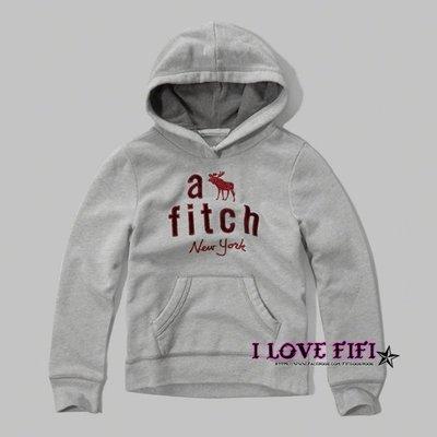 ❤美國專櫃帶回真品❤a&f童裝abercrombie&fitch kids girl hoodie麋鹿連帽Tee-灰色