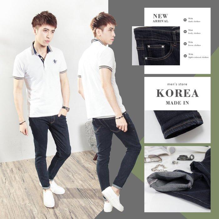 。SW。【K91521】正韓PE 韓國製 修身顯瘦 觸感舒適 原色深藍 挺實彈性單寧布 彈性牛仔褲 英倫 GD