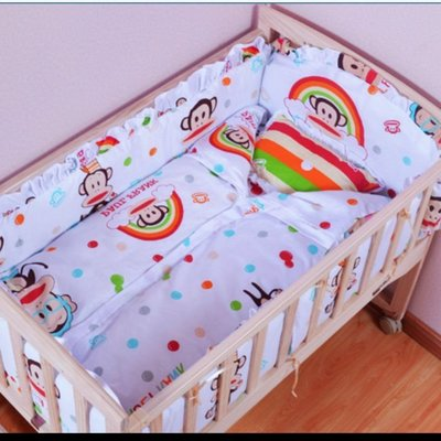 現貨(120*60cm*30)嬰兒床圍嬰兒床上用品套件兒童床圍寶寶床品純棉可拆洗