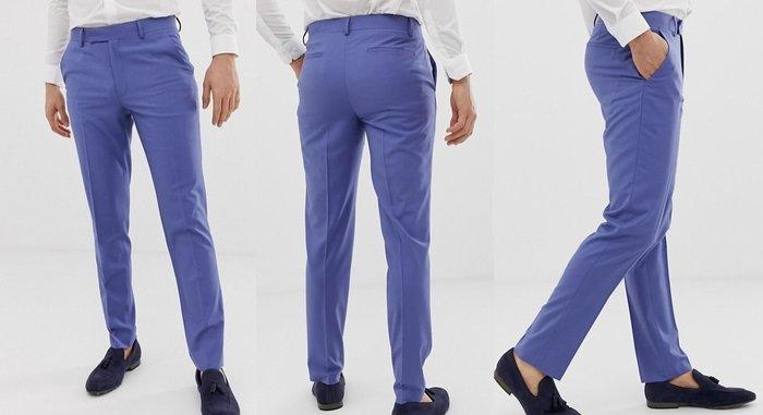 ◎美國代買◎ASOS無摺飾褲面藍紫色復古英倫時尚無摺痕褲面顯廋西裝長褲~歐美時尚~大尺碼