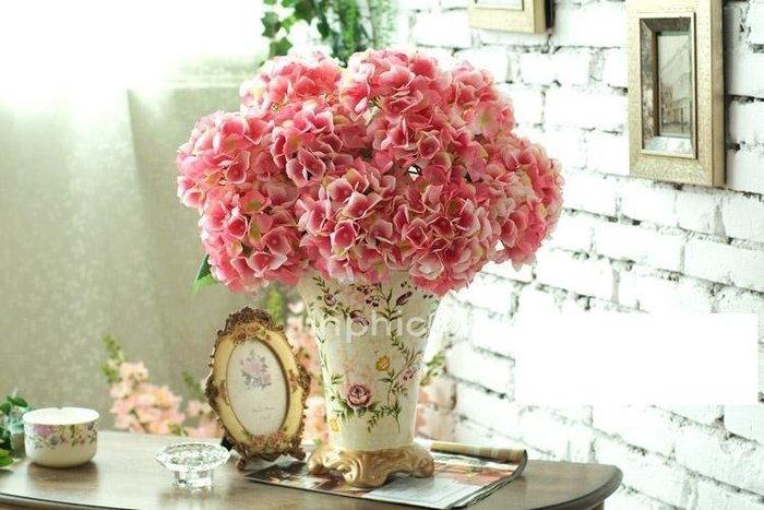 INPHIC-歐式現代時尚 彩繪花卉陶瓷花瓶3束菲奧納5頭繡球花 仿真花套裝