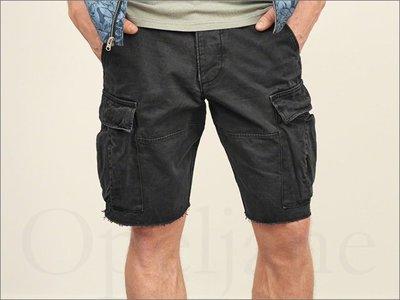 已賣 A&F AF Abercrombie & Fitch Cargo 麋鹿仿舊黑色五分褲工作短褲休閒褲 36腰厚磅重磅