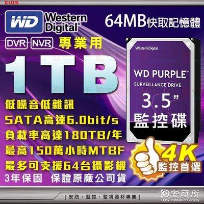 【安研所】WD 1TB 3.5吋 威騰 監控 紫標 硬碟 適 1080P 2MP 5MP 4路 8路 16路 DVR