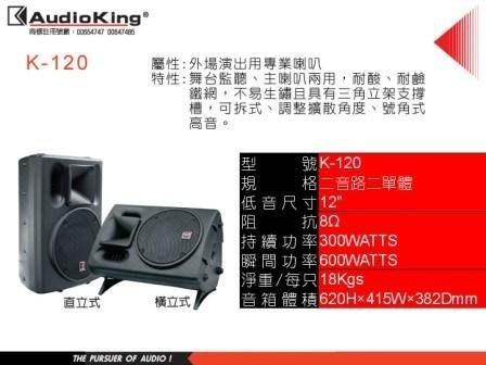 高傳真音響【Audio King撼聲 K-120】 外場演出用喇叭監聽.主喇叭兩用【含運】.可議價