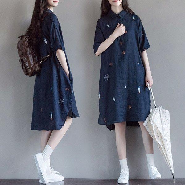 大碼洋裝 原創棉麻襯衣女2016夏季新款寬鬆文藝印花中長款森女系洋裝