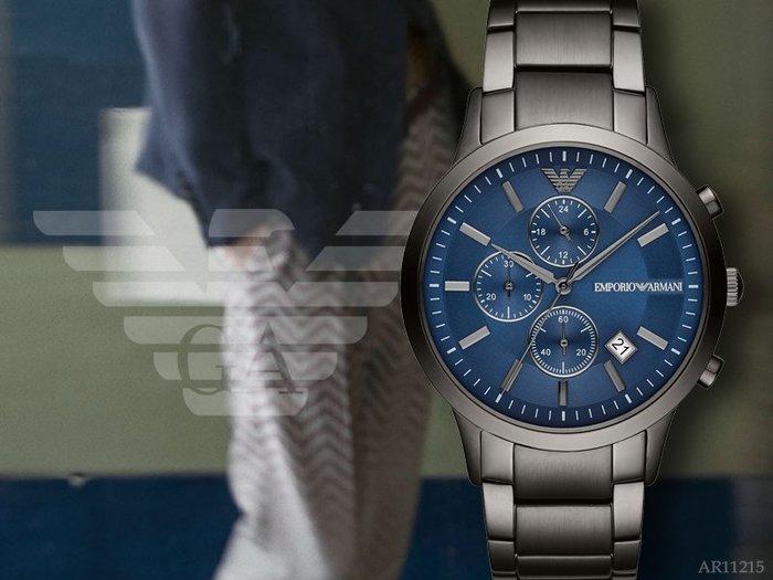 【時間道】EMPORIO ARMANI亞曼尼 經典三眼計時腕錶/深藍面槍灰鋼帶(AR11215)免運費