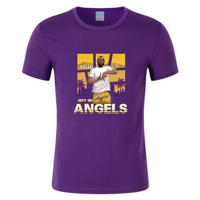 湖人隊23號詹姆斯球衣男士運動休閑服 籃球短袖T恤 town
