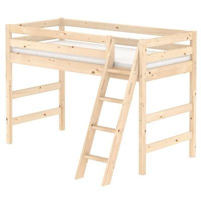 FLEXA Classic Semi-High Beds 中高床兒童房配置樓梯(B款),另提供丹麥原廠獨立筒床墊供選配。
