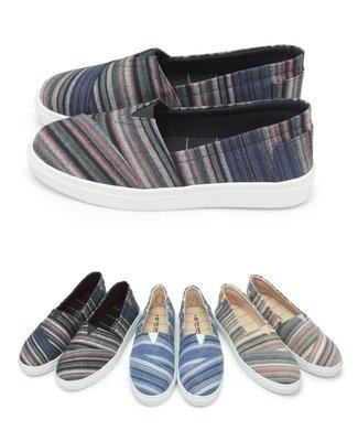 【富發牌】1BW31 三色繽紛線條鬆緊懶人鞋-黑/藍/粉【采靚鞋包精品】