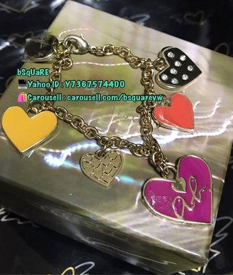 (最後2條) 購自日本 絕版 日版 AGNES B ab心心 心型 閃石 b logo 銀色手鍊 手鏈 (保証正貨及全新) 紫紅色