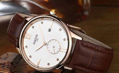 yes99buy加盟-男款商務 日曆 水鑽復古款 皮質錶帶 手錶 十天預購