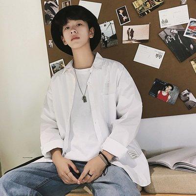 型男 M-XL 素面襯衫 2019春季新款港風男士長袖襯衫寬松純色純棉潮時尚