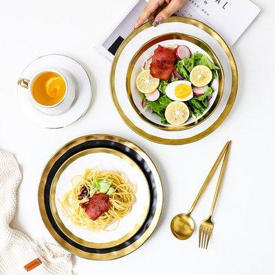 有一間店-北歐風金邊陶瓷餐具西餐盤菜盤家用碗面碗湯碗大號水果沙拉碗餐具(規格不同 價格不同)