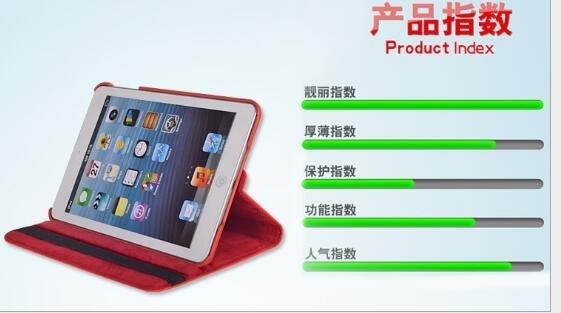 蘋果IPAD MINI4荔枝紋智能休眠保護套ipad mini4360度旋轉皮套 456