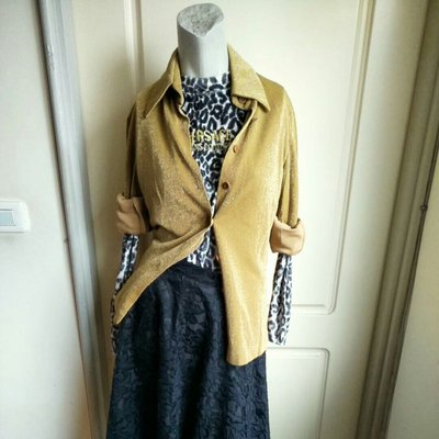 【Bjs啵古着】8.90年代Leading Lady Fashion金蔥點點金色絲絨長袖襯衫