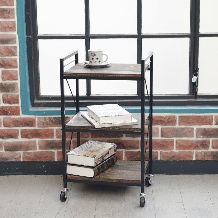 [tidy house]LOFT工業風原木刷紋三層推車 餐架 書架 廚房架 花架 三層架台灣製造TDSB433177WB