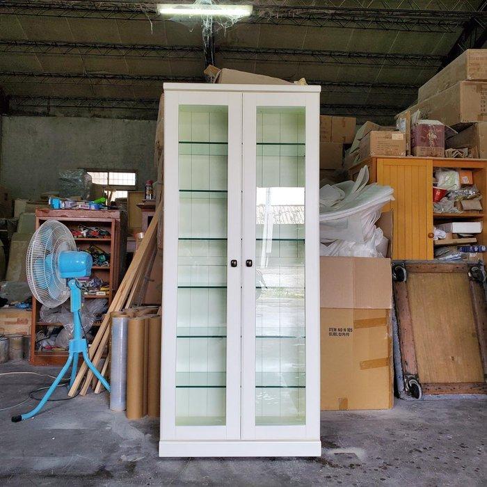 美生活館 鄉村傢俱訂製 客製化 紐松原木 象牙白色 雙門玻璃櫃 展示櫃 書櫃 馬克杯櫃 鑄鐵鍋櫃 收納櫃