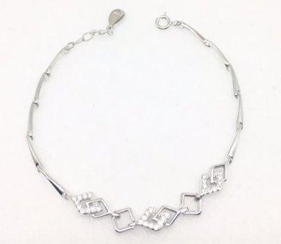 ☆╮Darling Baby ☆香港代購 正生銀飾~菱形串連手鏈