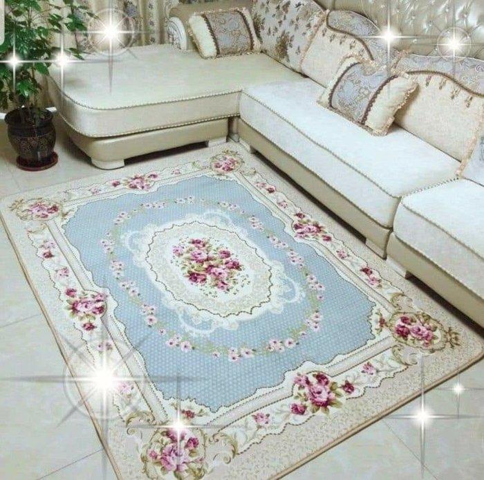 粉紅玫瑰精品屋~ 歐式玫瑰客廳地毯 床邊毯~