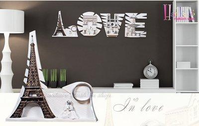 ☆[Hankaro]☆ 新古典法式巴黎鐵塔LOVE仿古浮雕牆壁掛飾~(合併批發另洽)