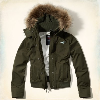 【Hollister Co. 】 All-Weather Bomber Jacket毛毛連帽外套--現貨xs