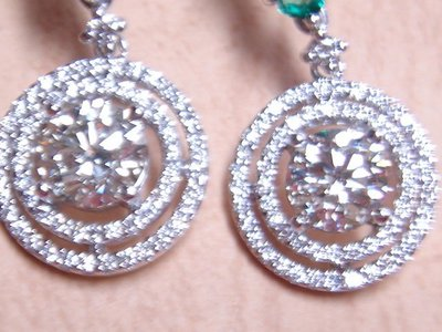 天寶流當品_天然祖母綠鑽石耳環1.03克拉+1.01克拉+鑽石墜1.01克拉VVS1.F COLOR