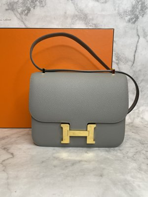 【 RECOVER 名品二手 sold out】HERMES MINI CONSTANCE 海鷗灰 金釦