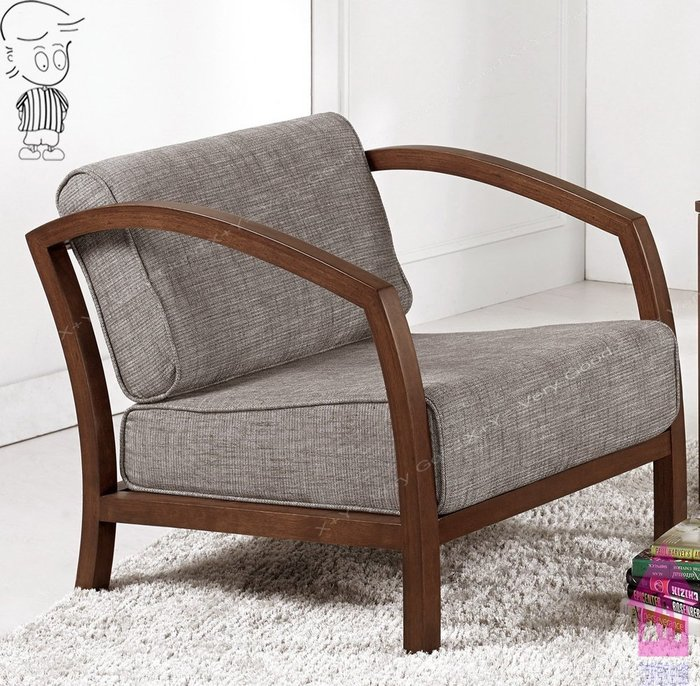 【X+Y時尚精品傢俱】現代沙發組椅系列-邁爾斯 休閒單人椅.房間椅.橡膠木實木+高級棉麻布.摩登家具