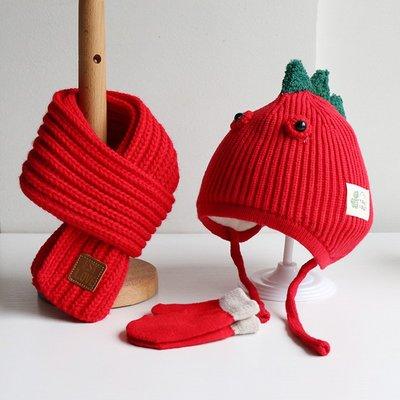 Flower野店-秋冬兒童帽子圍巾套裝超萌可愛恐龍男女寶寶帽子圍脖嬰兒針織帽子#兒童帽子#圍巾#手套#