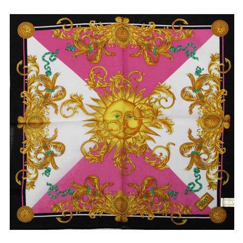 【姊只賣真貨】VERSACE 凡賽斯 古典藝術風太陽圖騰領帕巾(粉紅色/黑色)