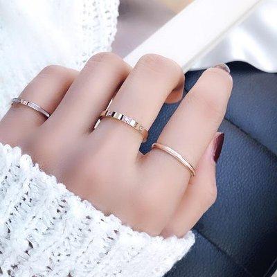 冷淡風食指戒指環女日韓簡約網紅玫瑰金鈦鋼極細鉆chic潮人學生