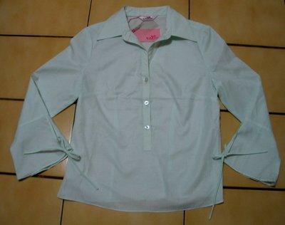 JUST TWO(集體創作)全新S號有吊牌白色+蒂芬妮綠色條紋.緞帶,7分袖襯衫
