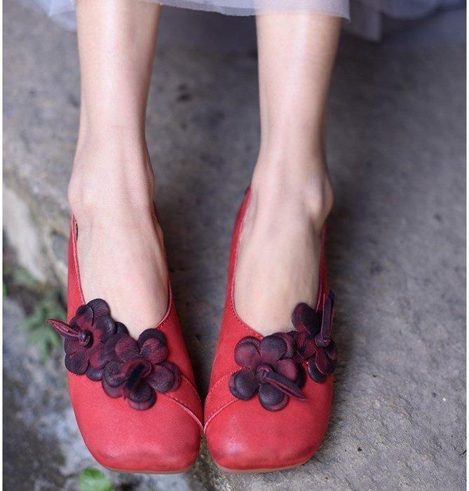 ~皮皮創~原創設計手工女鞋。真皮花朵鞋簡約文藝小羊皮四季單鞋休閒平底鞋
