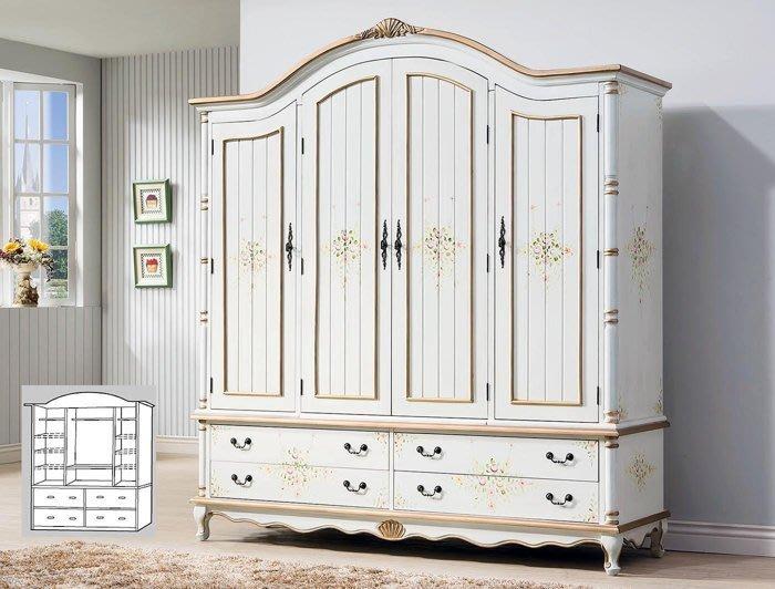 伊麗莎白歐式彩繪仿古金漆6.3尺四門衣櫥 四門衣櫃