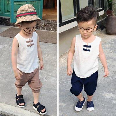 ♥【BS0196XT-6735】韓版男童裝盤扣無袖套裝 2色 (白+藏青 白+卡其 現貨) ♥